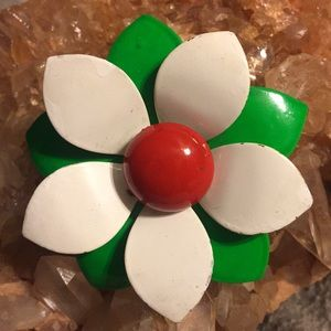 Vintage white, green and red enamel flower brooch